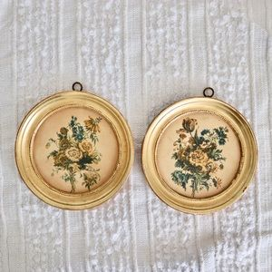 Vintage Borghese Italy floral gilt wall plaques
